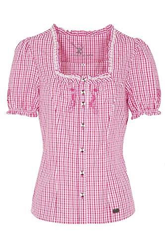Spieth & Wensky Damen Trachtenbluse mit Stickerei kariert pink, Fuchsia (pink), 52