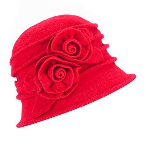 Lawliet Lawliet Eleganter Vintage-Glockenhut aus Wolle für Damen. Warme Kopfbedeckung für den Winter. Gr. Einheitsgröße, 287_Red