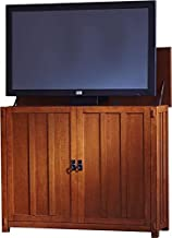 """Touchstone 72006 - Elevate TV Lift Cabinet - TVs Up to 50 Inch Diagonal (45"""" Wide TV) – Mission Oak - 50 in Wide - Quiet & Quick Whisper Lift II TV Lift – Wired & Wireless RF Remote"""