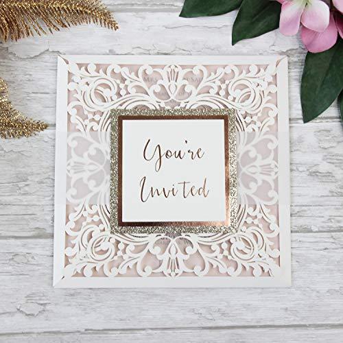 Einladungskarten Lasergeschnittene mit Spitze - Hochzeitskarten Einladungen edles Papier für Gebustag, Hochzeit, Taufe, Scrapbooking Muster - Vorgedrucktes Sample!