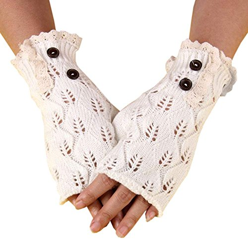 Armfre Tops Knit Fingerless Gloves for Women Ruffle Trim Knitted Thumbholes Elastic Stretch Gloves Soft Knit Wrist Mitts Hand Warmers Best Christmas Xmas Gift