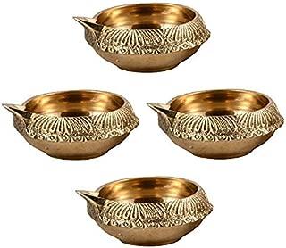 Hashcart Handcraved Diya for Diwali in Pure Brass/Diya Lamp Engraved Design Dia (Set of 4)