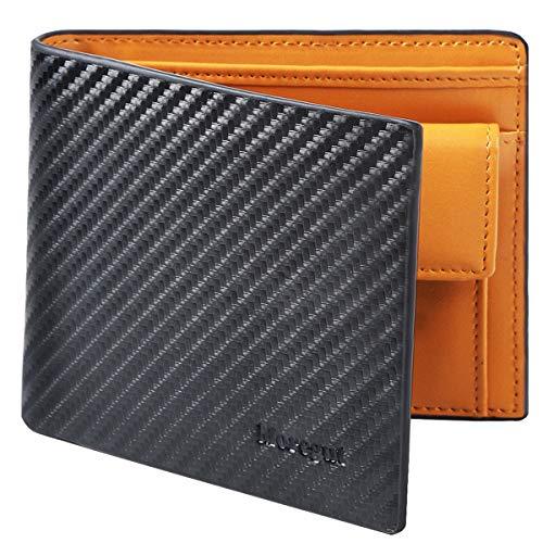 Moregut Geldbeutel Männer Portemonnaie Herren Carbon mit Pull-Tab und Münzfach RFID-Schutz - Echtem Leder Brieftasche Kohlefaser Geldbörse Portmonee im Querformat Geschenk Wallet