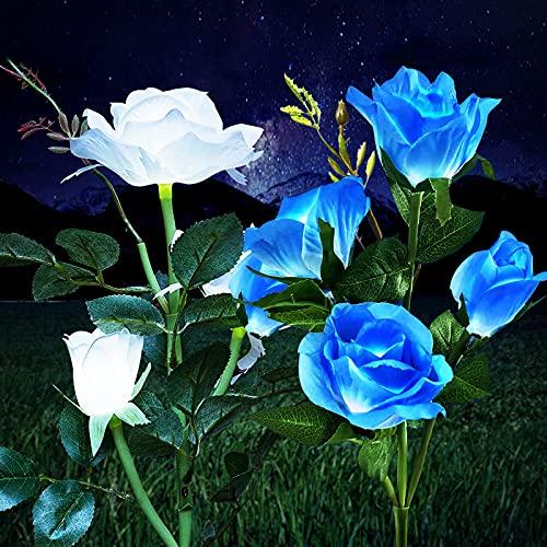 Solarleuchten Garten Deko, Wasserdicht Solarlampen für Außen Garten, Solar Garten Lampen mit LED Rose Lichter für Garten, Rasen, Feld, Weg (Blau+Weiß Rose, 2 Stück)