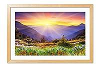 木製の枠 ズックの印刷する絵画 家の壁の装飾画 ポスター (30x40cm 材木色) 山の木々、草、花、日の出