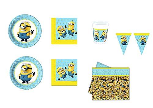 CDC – Kit N ° 24 Fête et Party moi moche et méchant Minions/Minions Lovely – (40 assiettes, verres, 40 serviettes, 1 nappe, 1 bannière)