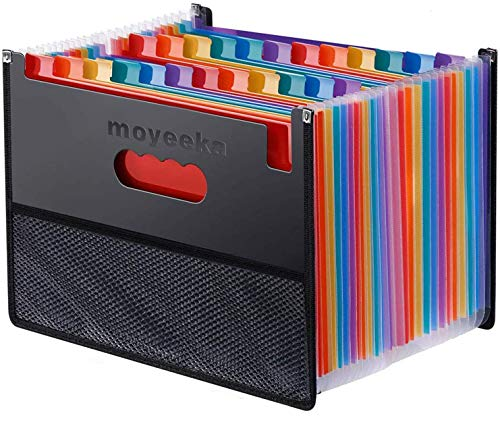 24 Pocket Expanding File Folder with Cloth Edge Wrap, Letter Size Organizer Expandable Accordion A4 Files Bag