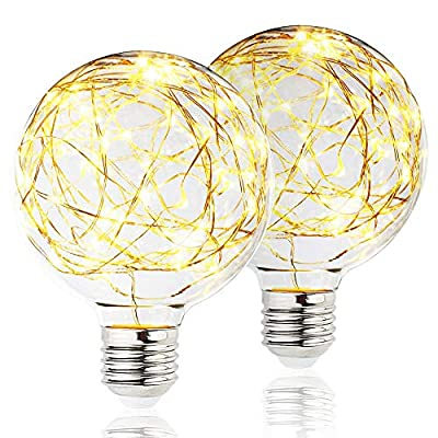 BlueX LED Globe Fairy Light Bulb for Ambient Night Lighting, E26 Base, Edison Starry Decorative Vintage Filament String Light Bulb, for Bathroom, Bedroom & Living Room,Warm White (2 Pack)