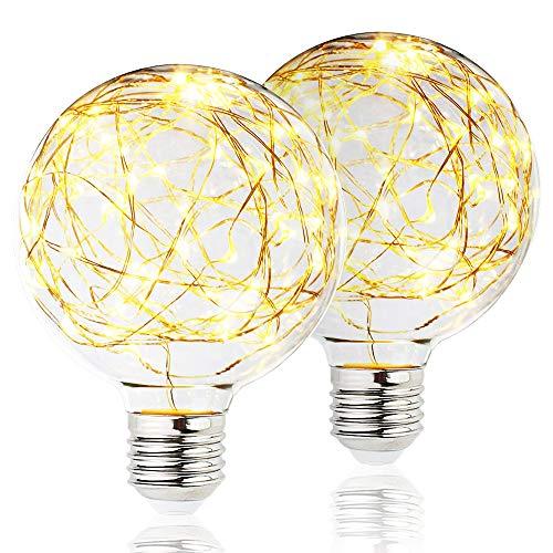 2 Pack BlueX LED Globe Fairy Light Bulb for Ambient Night Lighting, E26 Base, Edison Starry Decorative Vintage Filament String Light Bulb, for Bathroom, Bedroom & Living Room, White