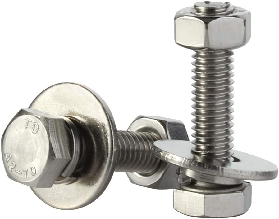 Fully Threaded Extra-large and Thick Flat /& Lock Washers Nuts Stainless Steel 18-8 Plain Finish 10 Sets M8-1.25 x 20MM Hex Head Screws Bolts