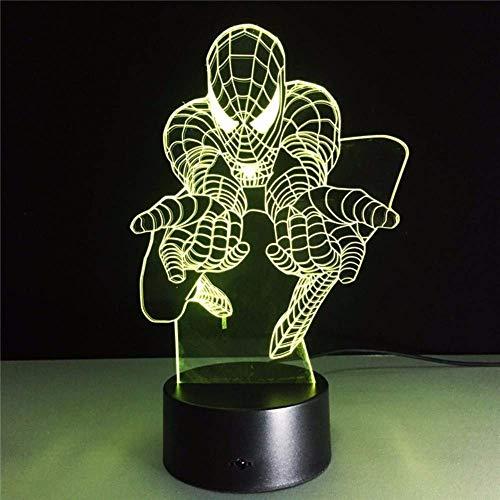Meilleur cadeau pour enfants 3D Spiderman Night Light Movie Fans Superhero Lamps USB Couleur Changeante Bureau Décor —— A