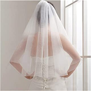 HXSD Simple and Elegent Wedding Veil Bridal Tulle Veils with Comb Two Layers Short White Wedding Veils Cheap 2019 Ivory Bridal Veil (Color : Ivory, Item Length : 75cm)