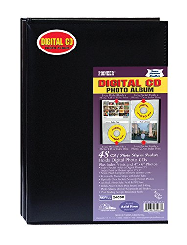 Pioneer Photo Albums 48 Pocket European Bonded Leather Digital CD Photo Album, Black