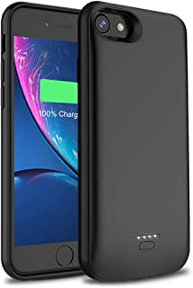Battery Case for iPhone 6/6s/7/8, Wavypo 4000mAh Extended Rechargeable Charging Case Portable Power Bank External Battery Pack Protective Charger Case for iPhone 6, 6s, 7, 8 (4.7inch)-Black