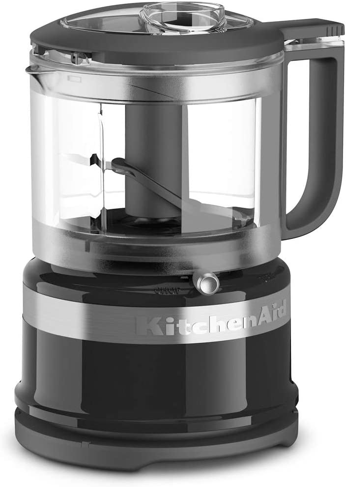 KitchenAid 2 Speed Pulsing Meal Prep Compact Mini Food Processor Chopper with 3.5 Cup Working Bowl, Onyx Black (Certified Refurbished)