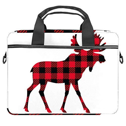 Moose Buffalo Plaid Laptop Bag Messenger Bag Slim Briefcase with Crossbody Shoulder Bag Computer Bag Computer and Tablet Carrying Case for 13.4-14.5In