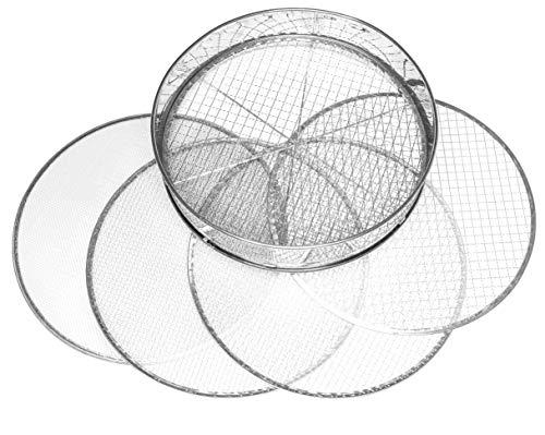 Tool Jungle- Gartensieb aus Edelstahl - inkl. 5 Siebeinsätze Ø 3,5,8,9,12mm – Kompostsieb Witterungsbeständig – mit zusätzlicher Querstrebe für mehr Halt
