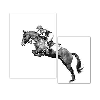 BIL-YOPIN Canvas Wall Art Equestrian Painting P...