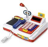 TOYSBBS Supermarktkasse Kinderspiel Elektronische Kasse Spielzeug Supermarkt Registrierkasse mit Scanner Mikrofon Rollenspiel Kaufladenzubehör für Mädchen