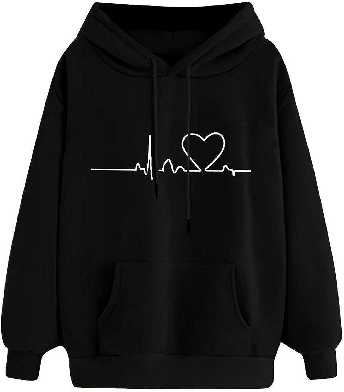 Cute Hoodies for Women San Jose Mall Casual Sle Max 60% OFF Graphic Sweatshirts Long Heart