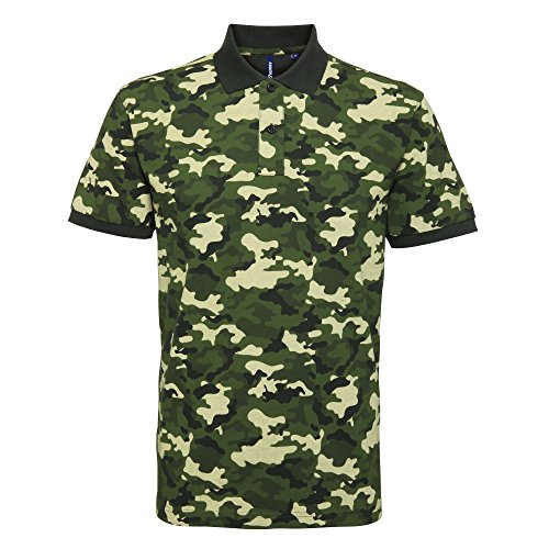Asquith & Fox Mens Short Sleeve Camo Print Polo Shirt (3XL) (Camo Green)