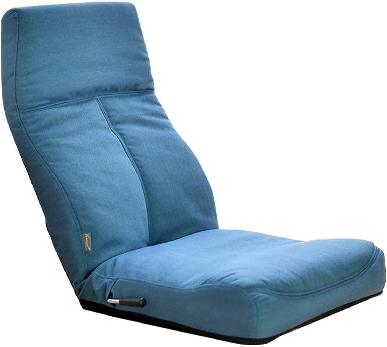LF Lazy Sofa Computer Bedroom Folding Chair Single Chair Modern Minimalist Adjustable (color   bluee)