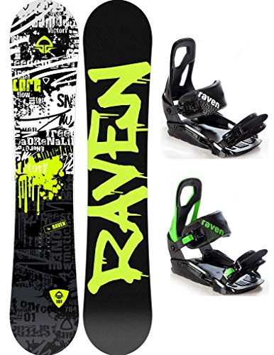 RAVEN Snowboard Set: Snowboard Core Junior 2020 + Bindung s200 (120cm + s200 Black S/M)