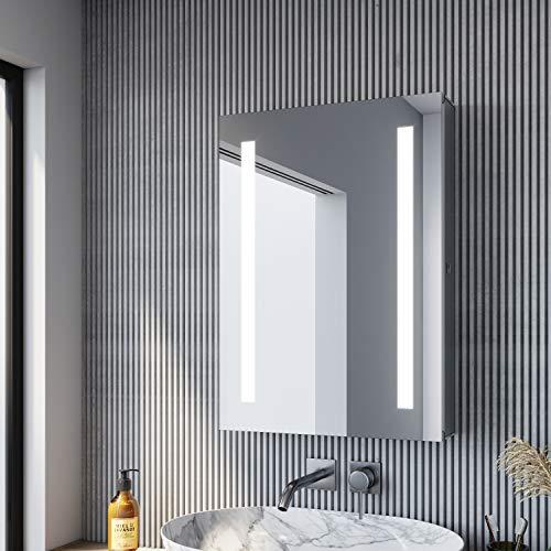 SONNI Spiegelschrank Bad 50 × 70cm Spiegelschrank mit Beleuchtung Aluminium wasserdicht aufwärts & abwärts hängbar Badezimmer Spiegelschrank mit Kippschalter
