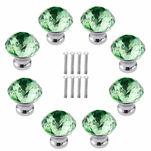 FBSHOP(TM) 8 Stück 30 mm Grün Schrankknöpfe Schubladenknöpfe Möbelknöpfe Kristall Möbelgriffe Möbelknauf Schrankgriffe für Küche Büro Schlafzimmer-Möbel,