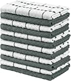 Utopia Towels - 12er Pack Geschirrtücher Küchentücher, 38 x 64 cm Baumwolle Geschirrtüch – Maschinenwaschbar (Grau und Weiß)