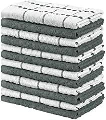 Set includes 12 cotton dish towels with six grey and six white dobby weave style kitchen towels measuring 15 by 25 inches Woven with 100% ring spun cotton making these towels durable and strong for all household chores Made from natural materials and...