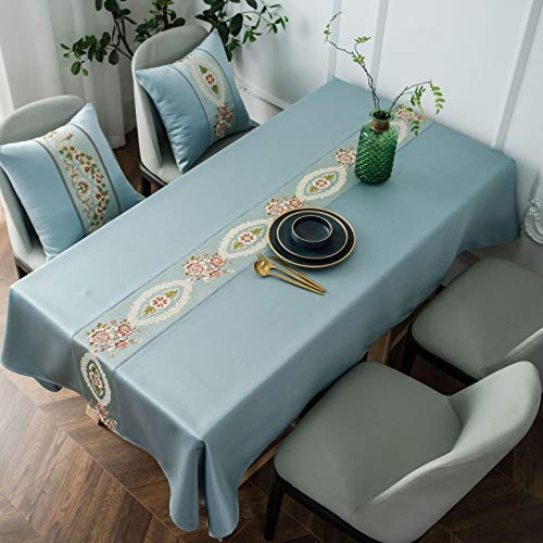 CFWL wasserdichte Tischdecke Klassische Leichte Luxus Reine Farbe Bestickte Seide High-Density Restaurant Tischdecke Biergarten Tischdecke Tischdecken FüR Biertische Blau 150 * 220cm
