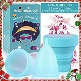 Menstruationstasse Set (1x Große& 1x Klein& Renigungsbecher& Bewahrungsbeutel) medizinischem Silikon Nachhaltige Monatshygiene Alternative zu Tampons/Binden, Menstrual Cup für starke&schwache Blutung
