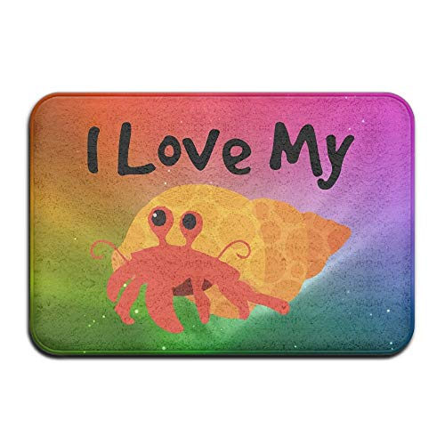 ZHIZIQIU Soft Non-Slip I Love My Hermit Crab Bath Mat Coral Fleece Area Rug Door Mat Entrance Rug Floor Mats