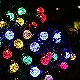 Solar Lichterkette Außen Kristall Kugeln 6 M 30LED 8 Modi Wasserdicht Lichter Dekoration für Garten Bäume Terrasse Partys Weihnachten Hochzeiten Außer und Innen (Bunt)
