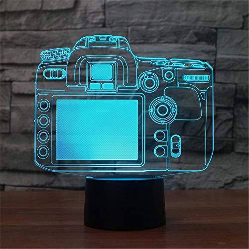 LBJZD luz de noche Cámara De Luz 3D Creativa Modelo Ilusión Lámpara 3D Led 7 Cambio De Color Usb Sensor Táctil Remoto Luz De Mesa De Escritorio Luz De Noche Sin Mando A Distancia