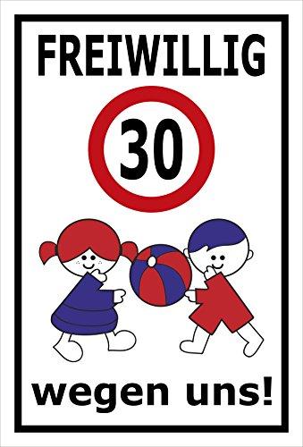 Melis Folienwerkstatt sticker schild - Vrijwellig 30 km/h - S00040-011-A 45x30cm – Hartschaumplatte – mit Bohrlöchern