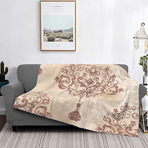 Personalizado Lana Manta,Damasco rococó Plateado Floral Victoriano Antiguo Barroco Belleza,Sala/Cuarto/Sofá Cama Franela Edredón Manta de Tiro,50' X 40'