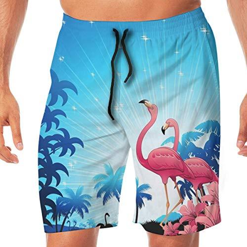 Surce Tropical Beach Palm Flamingo sneldrogend elastisch kanten boardshorts strandshorts zwembroek badpak of met tassen.