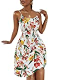 WDIRARA Women's Floral Print Shirred Spaghetti Strap Flared Chiffon Cami Dress Multicolored L