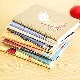 XKMY Cuaderno de tapa dura, 2 unidades, 8 x 6 cm, 20 páginas, con imagen de dibujos animados, vintage, retro, para niños, papelería coreana (color al azar)
