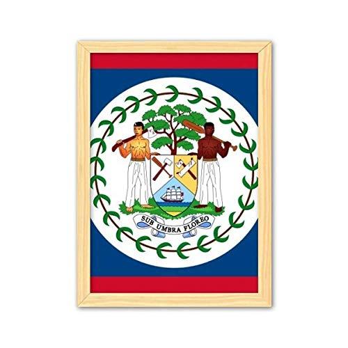 CaoGSH Belize Flagge Nordamerika Land Dekorative Holzmalerei Heimdekoration Bilderrahmen A4