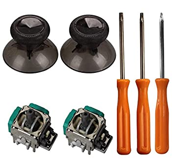 eJiasu Replacement Controller Grip 2 Piece 3D Joystick Wireless Controller Rocker+ T8/T10 Screwdrivers Tool+ 2 Pieces Thumbsticks Replacement Parts for Xbox One Controller One Set Black