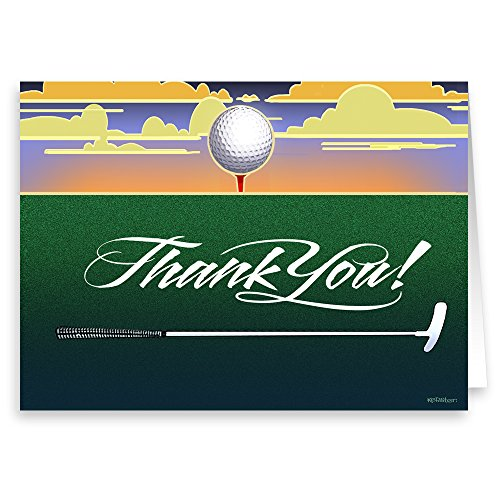 Golf Thank You Note Card - 18 Boxed Cards & Envelopes - Golfing Gifts
