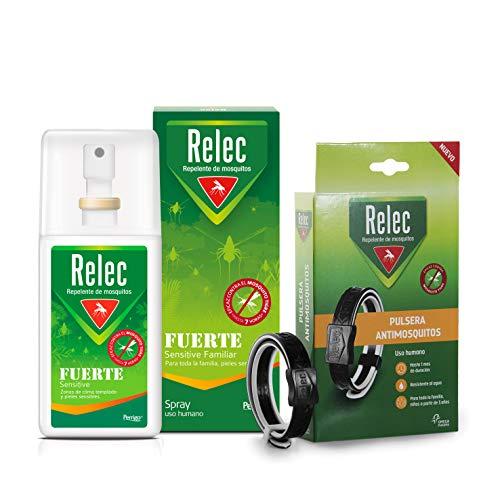 Pack Ahorro antimosquitos Relec Fuerte + Pulsera adulto-negra, Repelente de mosquitos, Eficaz contra el mosquito tigre, Sin perfume, Sin alcohol
