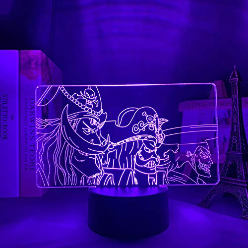 Lámpara de anime 3D ilusión de una pieza GOL D Roger LED noche luz para niños dormitorio decoración japonesa de una pieza Roger-Touch Control