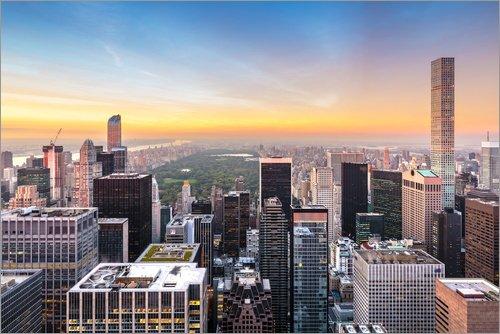 Posterlounge Acrylglasbild 30 x 20 cm: New Yorks Skyline mit Central Park von Sascha Kilmer - Wandbild, Acryl Glasbild, Druck auf Acryl Glas Bild