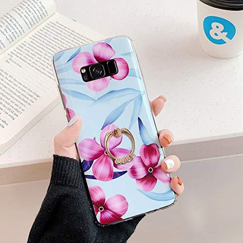 Herbests Kompatibel mit Samsung Galaxy S8 Handyhülle Case Blumen Blätter Muster TPU Silikon Hülle mit Ring Halter Ständer Schutzhülle Ultradünn Tasche Rückschale Stoßfest Case,Lila Rosa Blumen