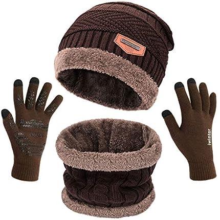 Petrunup Gorros Invierno Circulares Loop Bufanda y Guantes Pantalla Táctil de Punto Cálido, 3 Piezas Conjunto de Invierno Marrón Unisex para Mujer Hombre