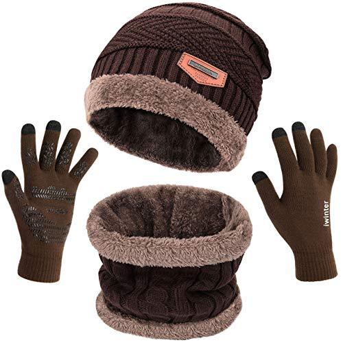 Petrunup Hut Loop Schal und Handschuhe Touchscreen Gestrickt Warm 3Pcs Winter Mütze Halswärmer und Handschuhe Set Unisex Braun